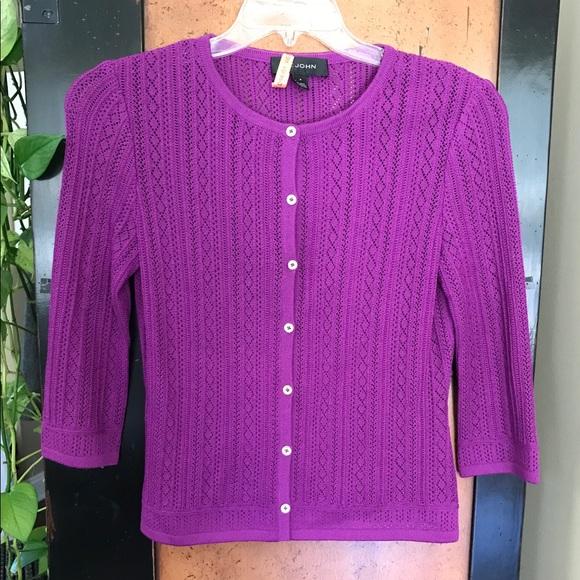 St. John Sweaters - St. John P Purple Knit 3/4 Sleeve Cardigan EUC